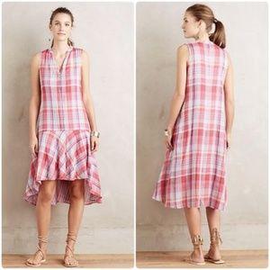 Maeve Anthropologie Pink Plaid Pippa Swing Dress